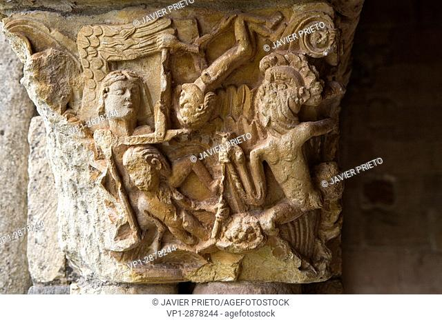 Capitals of the portico of the church of San Julián and Santa Basilisa. Romanesque portico. Rebolledo de la Torre. Las Loras World Geopark. Burgos