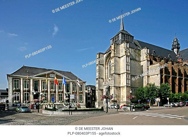 Town hall and the Saint-Sulpitius en Dionysus church at the Market Square, Diest, Belgium