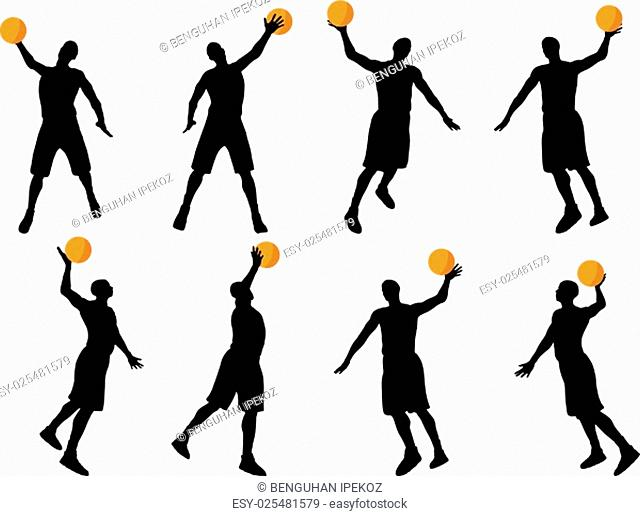 vector image - basketball player silhouette in slam pose, isolated on white background