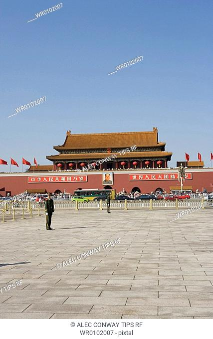 China, Beijing. Tienanmen square the Heavenly Gate, entrance to The Forbidden city
