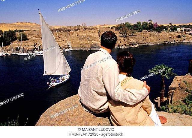 Egypt, Upper Egypt, Aswan, overview of Nile River from Old Cataract Hotel