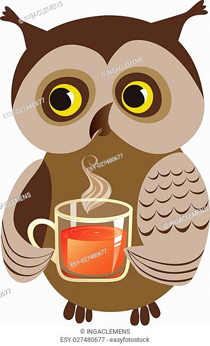 Owl drinking/offering cup of tea, vector