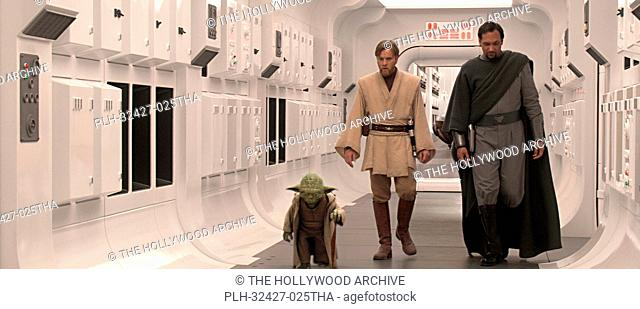 Yoda, Obi-Wan Kenobi (Ewan McGregor) and Senator Bail Organa (Jimmy Smits) ponder the rise of the Empire as they walk down the corridor of the Tantive IV in...