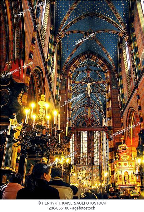 Poland Krakow, St Mary's Church Gothic altar carved by Veit Stoss