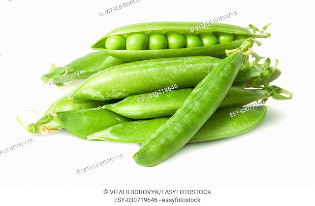 Pile of fresh green peas in the pods isolated on white background
