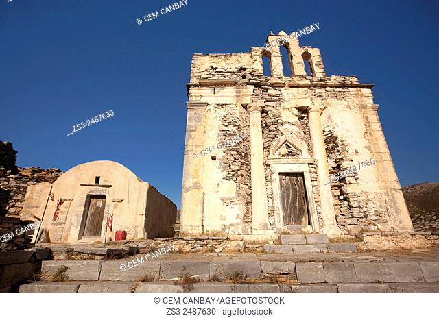 View to the old church, Episkopi, Sikinos, Cyclades Islands, Greek Islands, Greece, Europe