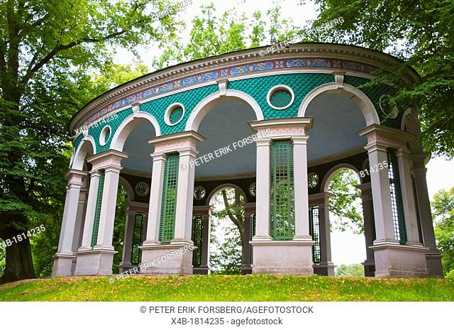 Ekotemplet the Echo temple 1790 outdoor dining area Hagaparken the Haga Park in Solna district Stockholm Sweden Europe