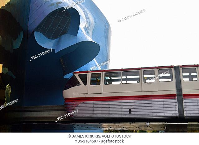 The Seattle Monorail heads into the Music Experience