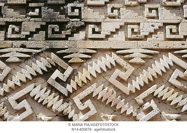 Detail of decoration at Palace of Columns. Mitla ruins. Mexico