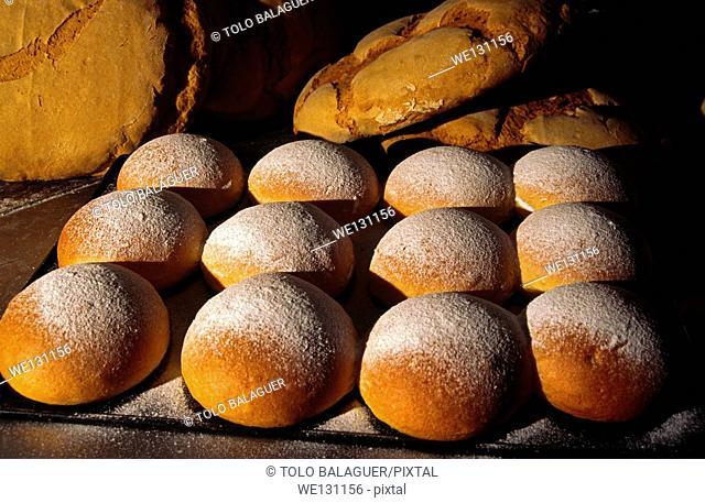 """Cocas de patata"" (potato cake), typical pastries. Valldemossa. Serra de Tramuntana. Majorca, Balearic Islands, Spain"