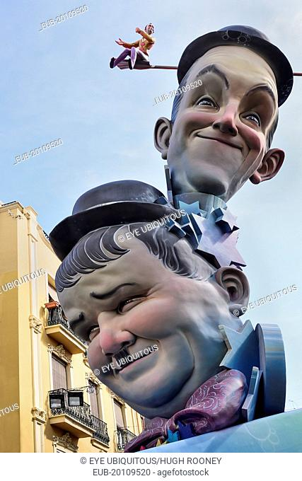 Papier Mache versions of Laurel and Hardy in the street during Las Fallas festival