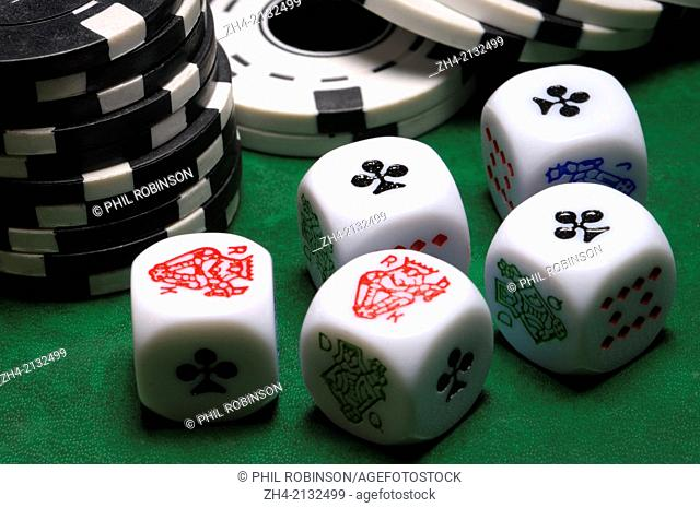 Poker dice and betting chips