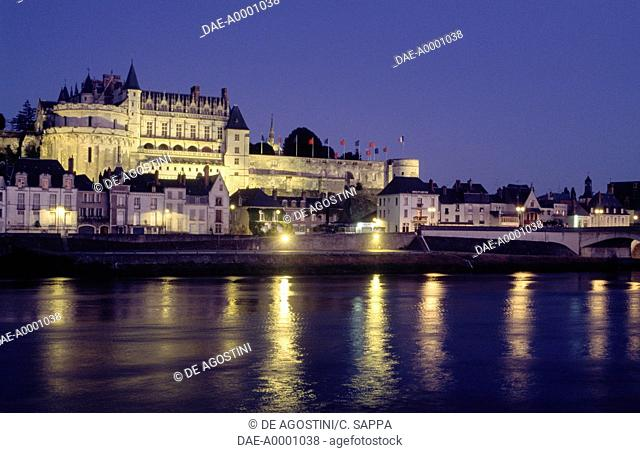 Night view of the Royal chateau of Amboise, Loire valley (UNESCO World Heritage List, 2000), Centre region, France, 13th-19th century