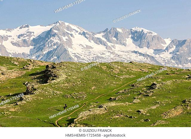 France, Hautes-Alpes, Oisans massif, hiking to the plateau d'Emparis, Grandes Rousses in the background