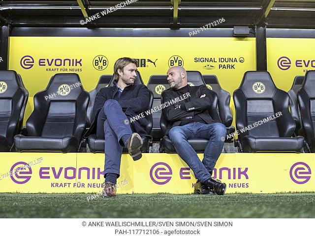 Coach Peter BOSZ r. (LEV) with Simon ROLFES (LEV, Youth and Development Manager) Soccer 1.Bundesliga, 23.matchday, Borussia Dortmund (DO) - Bayer 04 Leverkusen...