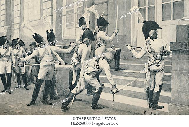 'The Prussian Noble Guard Sharpen Their Swords on the Steps of the French Embassy at Berlin', 1896. Artist: Unknown