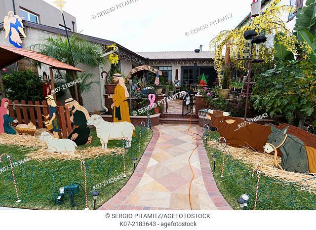 Christmas decorated house in Pine Street, Huntington Beach, California, USA
