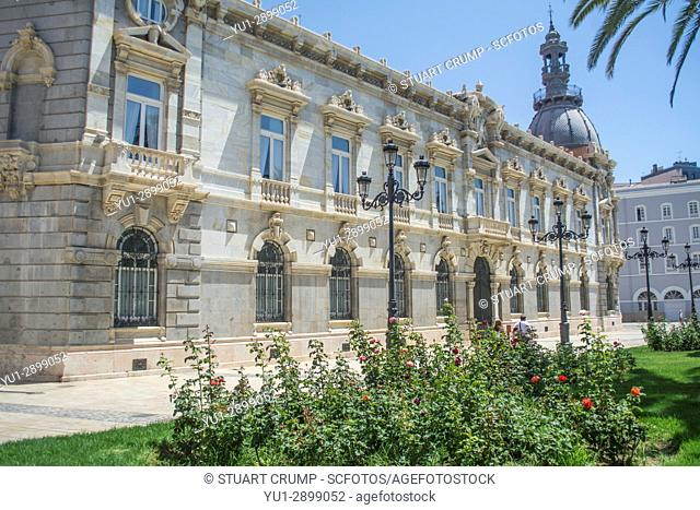 Facarde of Cartagena Town Hall in Cartagena Murcia Spain