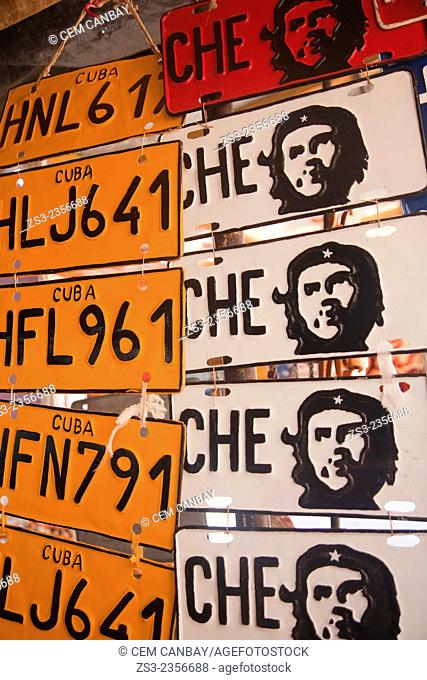 Souvenir license plates with Che figure at the entrance of a shop, Trinidad, Sancti Spiritu Province, Cuba, West Indies, Central America