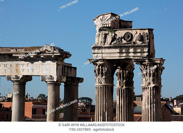 Temple of saturn and Temple of Vespasian and Titus in the Roman forum in Rome, Italy