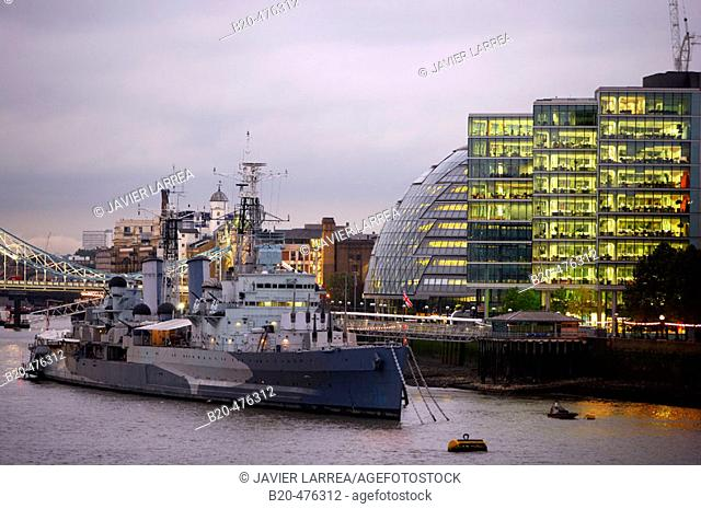 HMS Belfast, Southwark Crown Court, City Hall, Thames River, London. England, UK