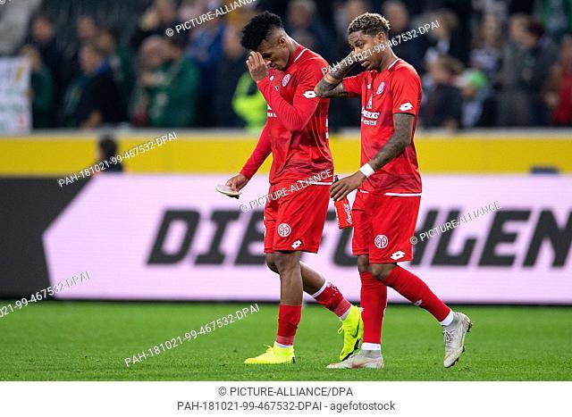 21 October 2018, North Rhine-Westphalia, Moenchengladbach: Soccer: Bundesliga, Borussia Moenchengladbach vs FSV Mainz 05, 8th matchday in the Borussia Park