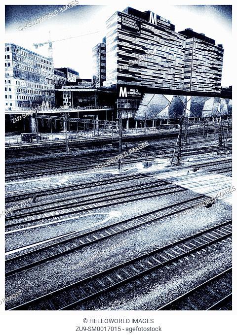 Multiple railway lines passing the Mall of Scandinavia shopping centre, Solna, Stockholm, Sweden, Scandinavia