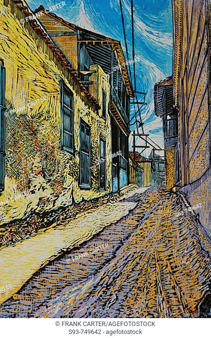 A painting of a city street
