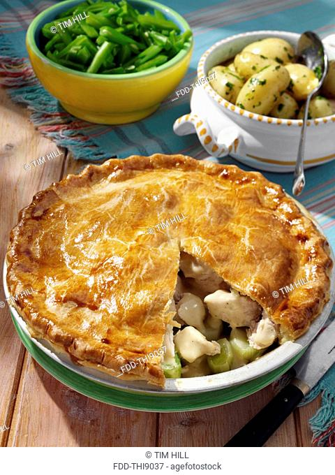 Chicken and leek pie with new potatoes and runner beans