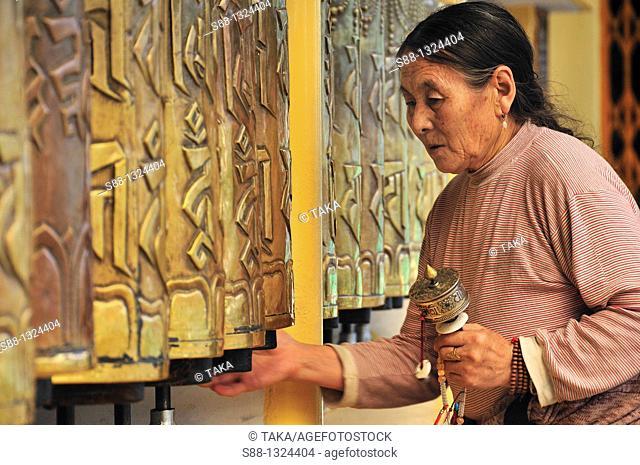 Woman praying at Namgyal monastery