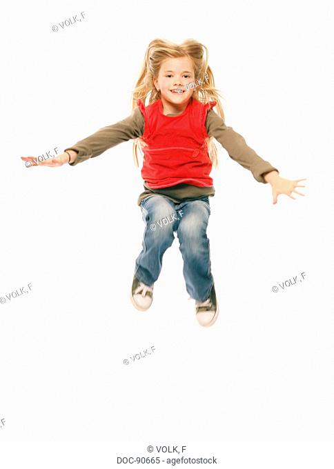 Child in the air. Child in different movements