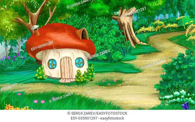 Fairy Tale Background with mushroom house. Digital Painting, Illustration in cartoon style character