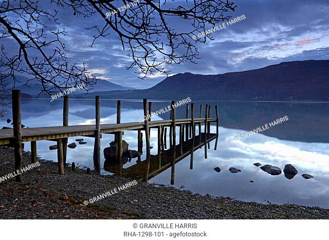 Dawn at Brandelhow jetty on Derwentwater, Lake District National Park, UNESCO World Heritage Site, Cumbria, England, United Kingdom, Europe