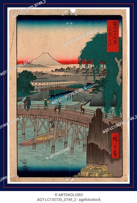 Toto ikkokubashi, Ikkoku Bridge in the eastern capital., Ando, Hiroshige, 1797-1858, artist, 1858., 1 print : woodcut, color ; 36 x 24.4 cm