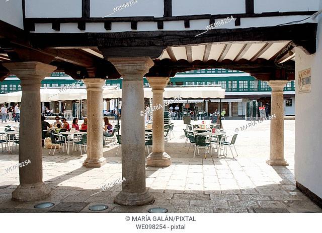 Plaza Mayor from the arcade. Almagro, Ciudad Real province, Castilla La Mancha, Spain
