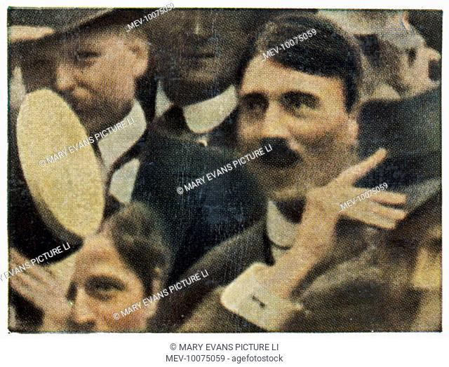 ADOLF HITLER Among the crowd in the Odeonsplatz, Munich, as war is declared
