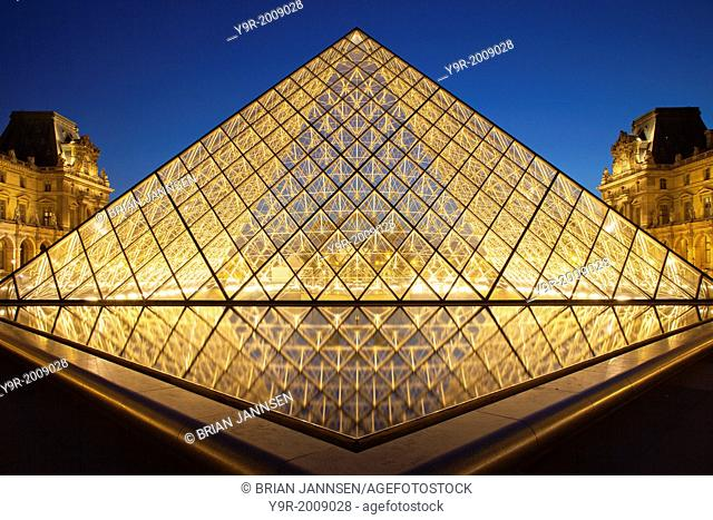 Glass pyramid at entrance to Musee du Louvre, Paris France