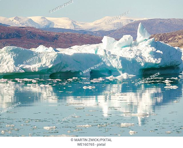 Iceberg in the Pakitsoq Fjord System, in the background the Nuussuaq peninsula. America, North America, Greenland, Denmark