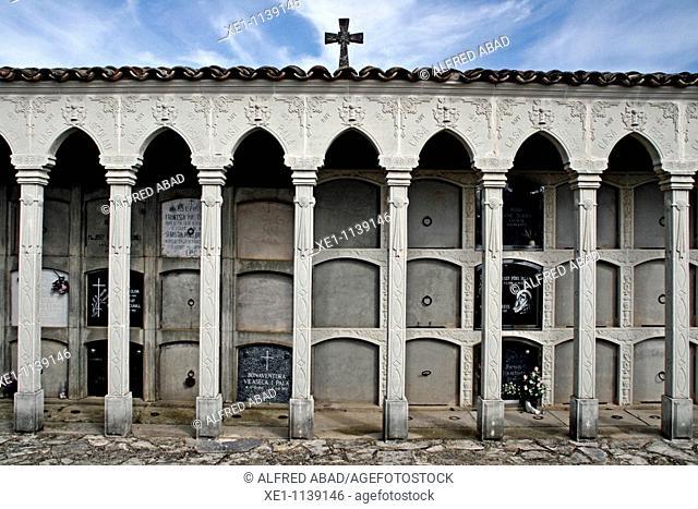 Columns and cross cemetery, Molsosa, Solsones, Catalonia, Spain