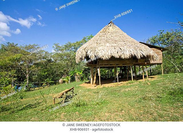 Thatched hut, Embera village, Chagres River, Panama