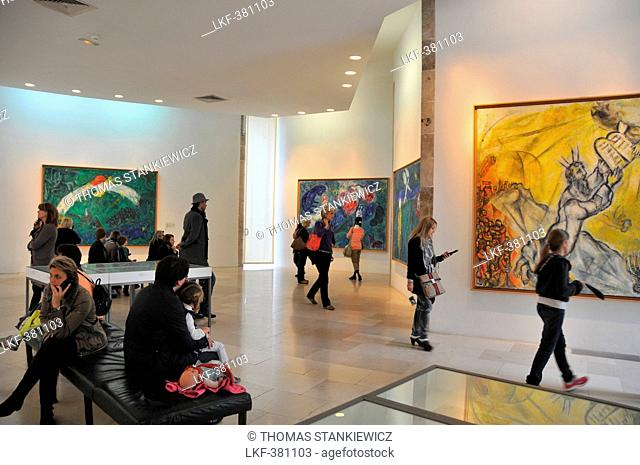 People inside of Musee Marc Chagall, Nice, Cote d'Azur, South France, Europe