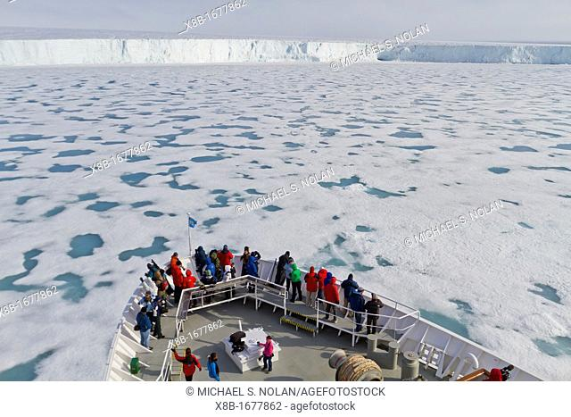 The Lindblad Expedition ship National Geographic Explorer at Austfonna in the Svalbard Archipelago, Norway