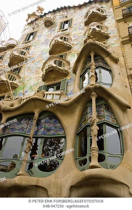 Casa Battlo designed by Gaudi on Passeig de Gracia street in Gracia district of Barcelona Spain Europe