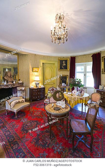 Living room, Troussay Castle, Cheverny Village, Loir-et-Cher Department, The Loire Valley, France, Europe