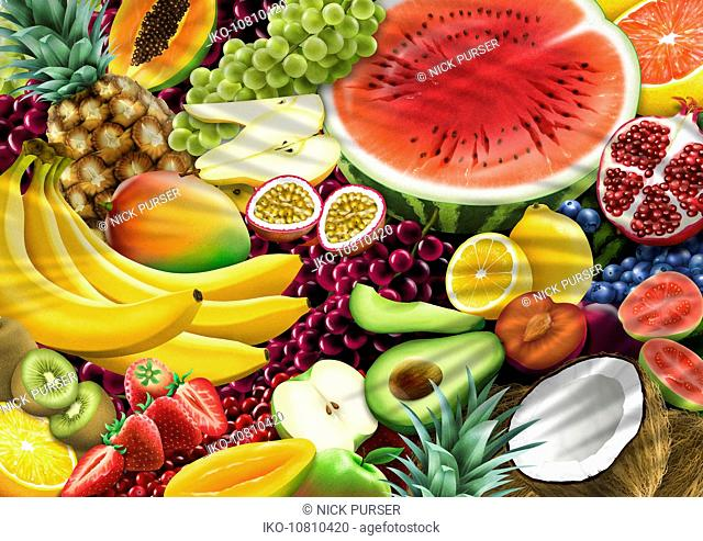 Full frame of lots of different brightly colored fruit