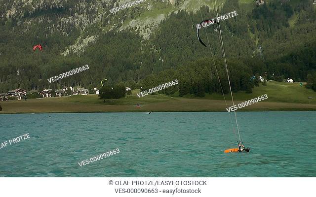 Kite surfer at Lake Silvaplana, Switzerland