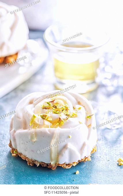 Halva parfait cake shaped like a rose