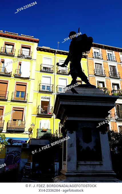 Eloy Gonzalo sculpture. Cascorro. Lavapies square. Main old city of Madrid. Spain