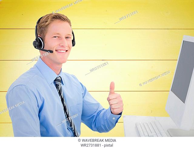 Happy Travel agent with headset against a yellow background