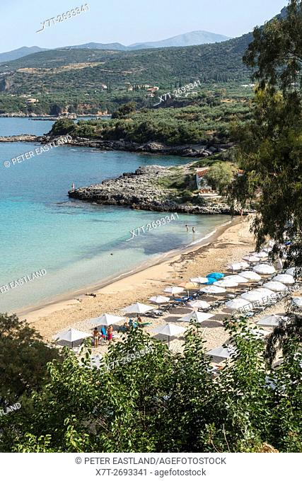 Looking down on Kalogria beach at Stoupa with the Outer Mani coastline in the background, Messinia, Southern Peloponnese, Greece